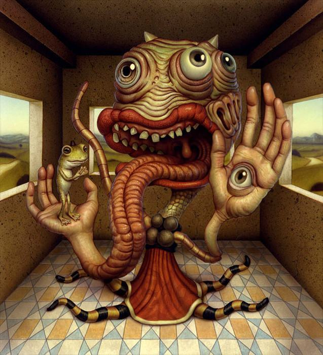 An alien poses with a frog in this humorous surrealist painting by naoto hattori