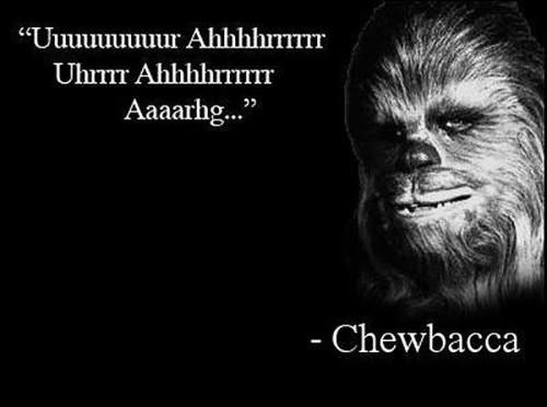 An inspirational picture quote in which Star Wars Chewbacca gives a motivational speech