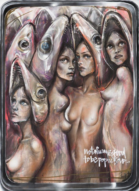 Beautiful nude girls wearing fish heads cram together like sardines in this painting about popularity by Herakut