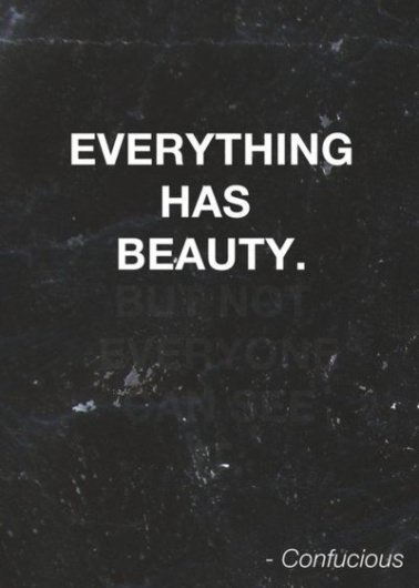 Confucious say Everything has beauty