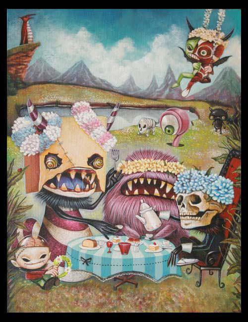 Creepy but cute pop surrealism painting by Yosuke Ueno of monsters having a tea party