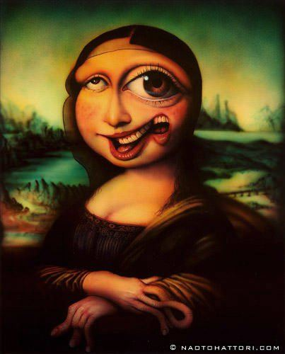 Mona Lisa gets morphed in this funny surrealism painting by Naoto Hattori