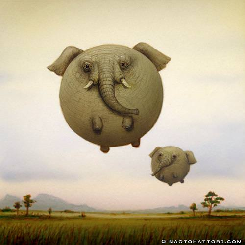 Naoto Hattori paints elephant balloon animals in this funny surrealism painting