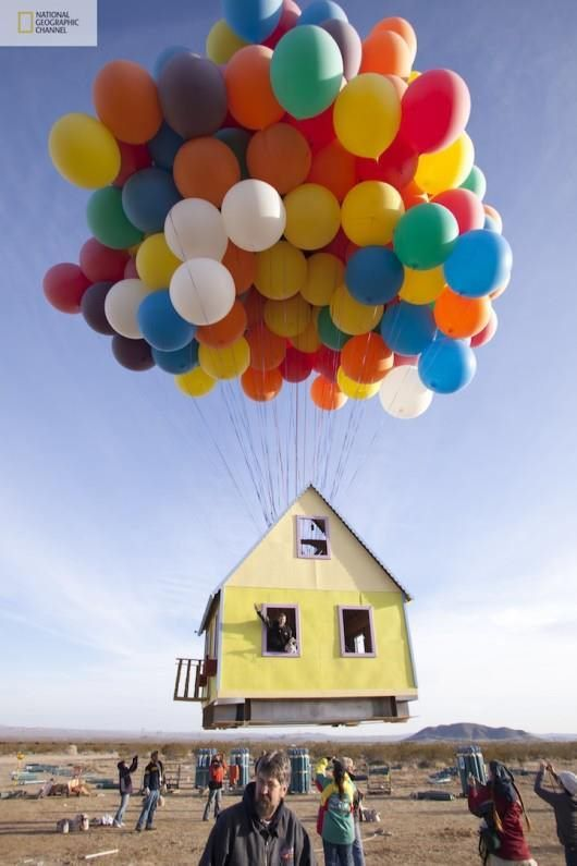 National Geographic floats a house with balloons like in the animated film Up
