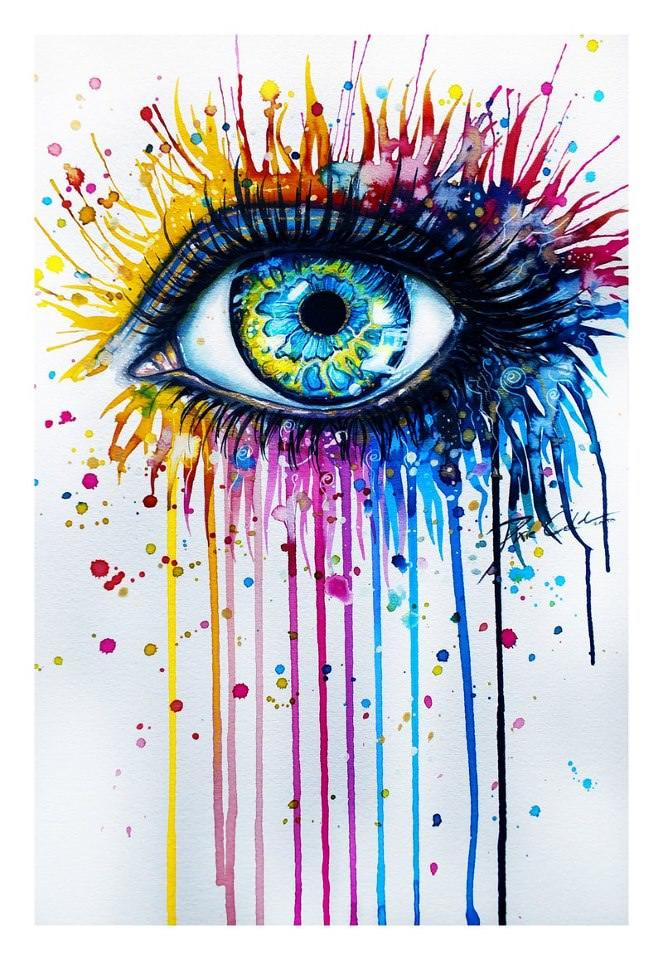 Stunning splashy watercolor painting of a beautiful eye by German artist Svenja Jodicke