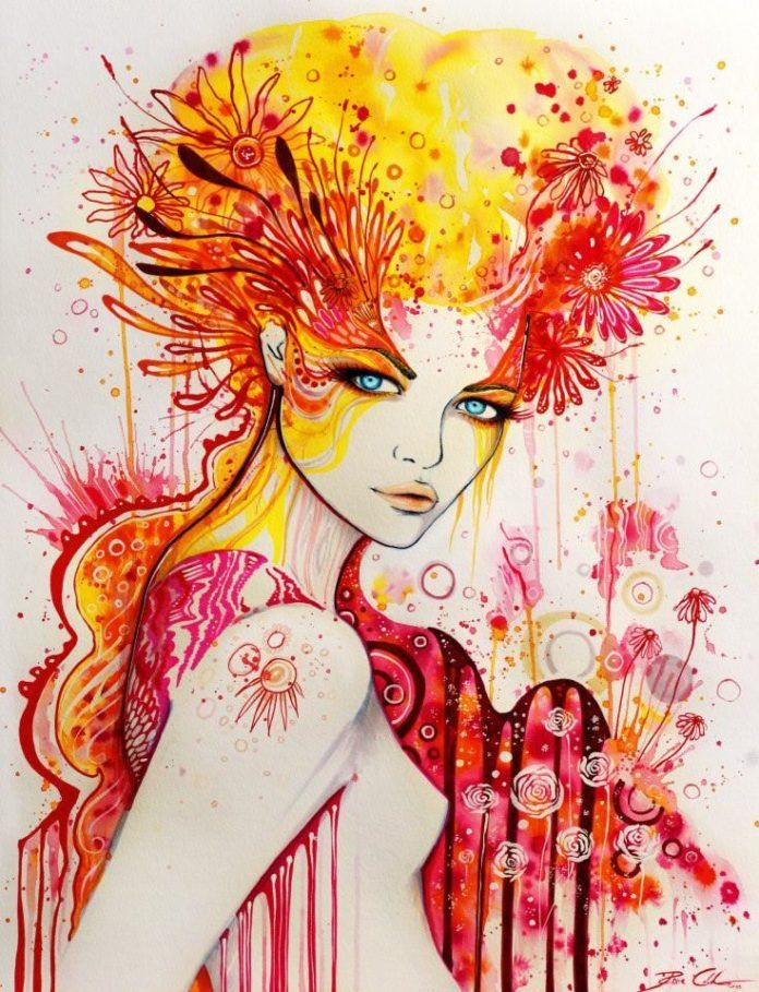 Svenja Jodicke paints a beautiful woman with red and yellow floral patterns
