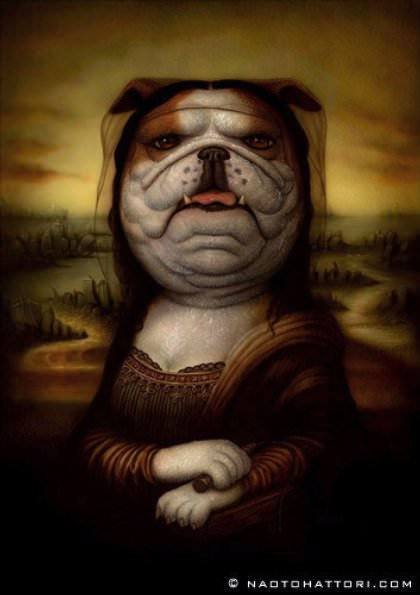 The Mona Lisa becomes a bulldog in this surrealist painting by Naoto Hattori