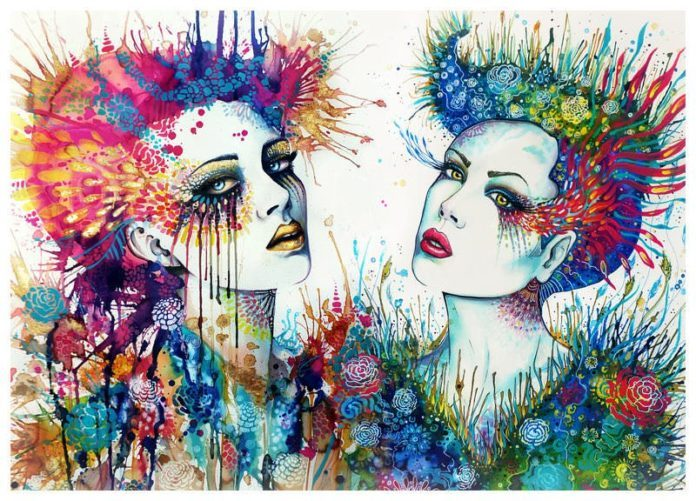 Two beautiful women pose with feminine deorations in this watercolor painting by Svenja Jodicke
