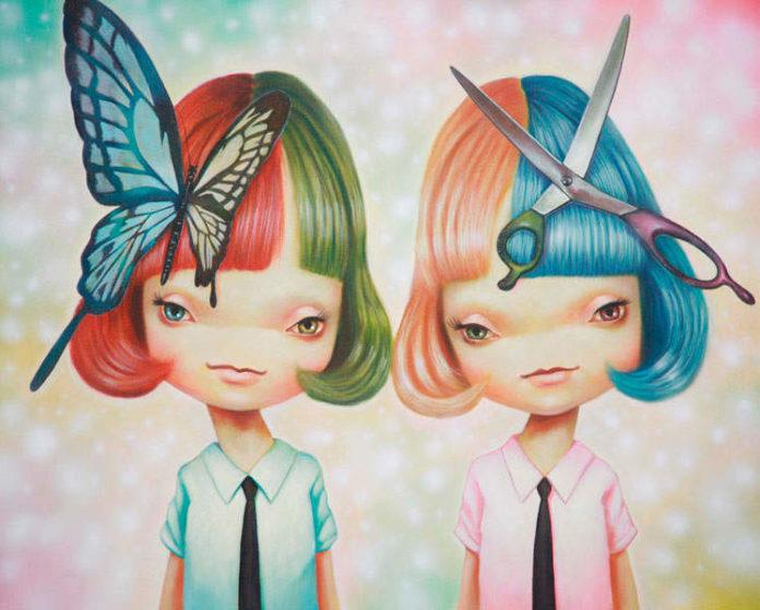 Two cartoon school girls wear a butterfly and scissors in this pop surrealism painting by Yosuke Ueno