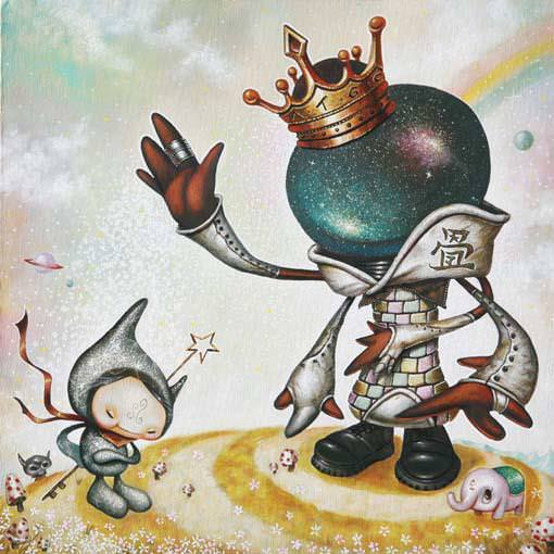 Two fantasy character interact in this cartoon pop surrrealism painting by Yosuke Ueno