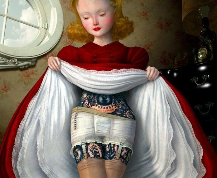 A beautiful Edwardian girl lifts her skirt to reveal tattoos in this Ray Caesar painting
