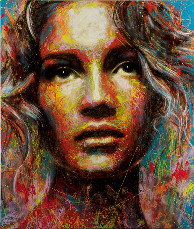 beautiful colorful portrait in spray paint by London graffiti artist