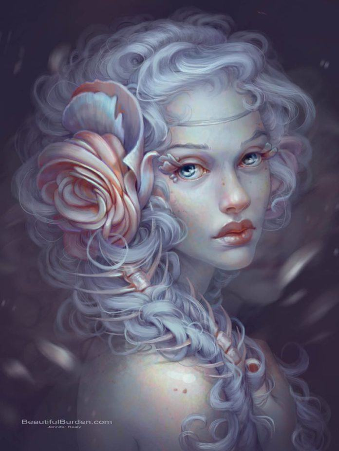 A beautiful fairy girl has flower petals for eyelashes in this Photoshop fantasy painting by Jennifer Healy