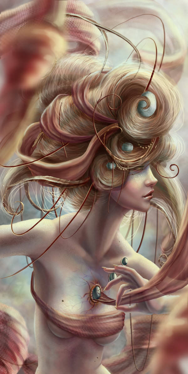 A beautiful fantasy alien woman wears pearls in her skin and hair in this digital painting by Jennifer Healy