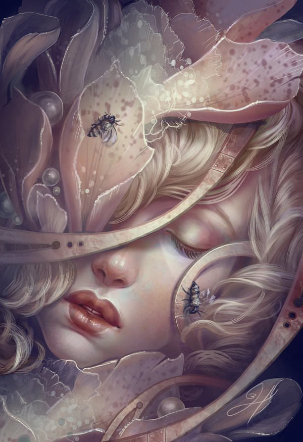 A beautiful fantasy girl sleeps in the heart of a flower surrounded by bees in this digital painting by Jennifer Healy