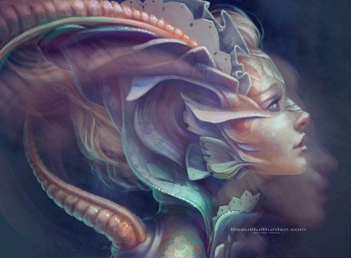 A beautiful fantasy painting by Jennifer Healy of a mermaid woman