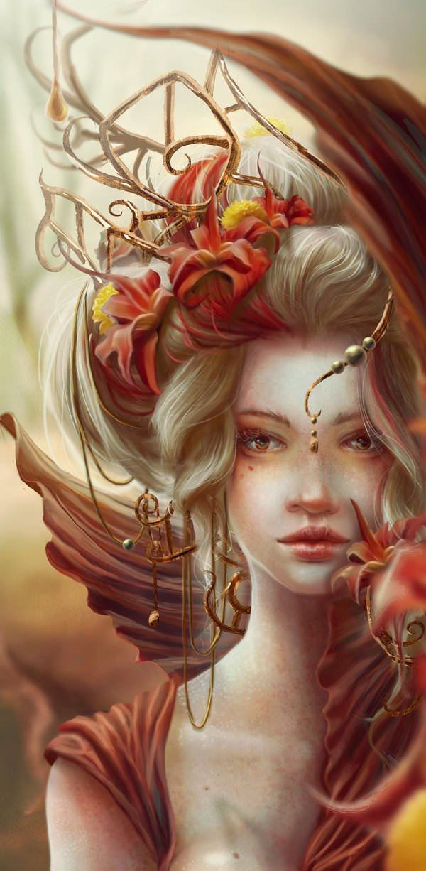 A beautiful fantasy queen wears magical jewelry in this digital painting by Jennifer Healy