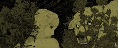 A beautiful girl encounters a wolf in this illustration by Philipp Banken