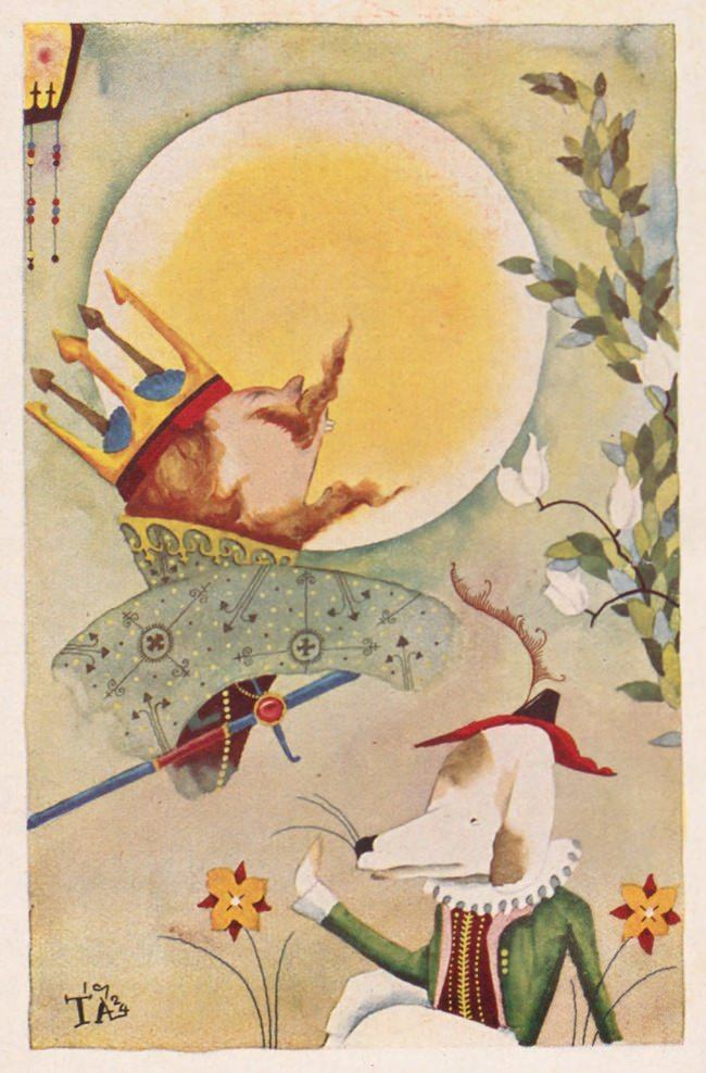 A creative and colorful antique illustration by japanese artist Takeo Takei of a king and his dog