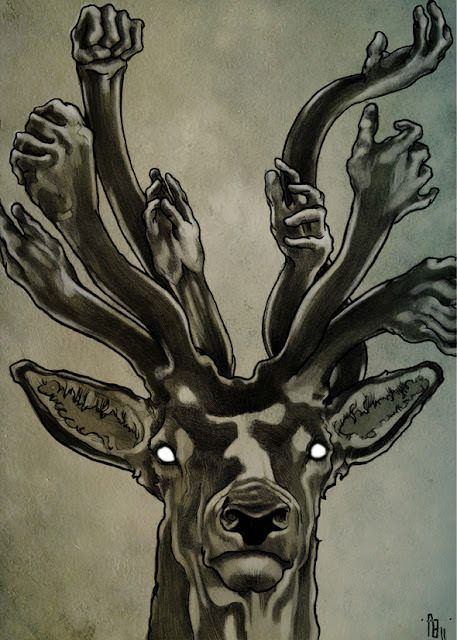 A deer wears a crown of human hands instead of antlers in this art work by Philipp Banken