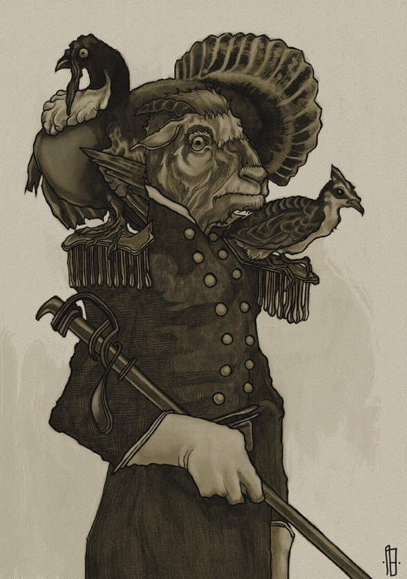 A goat poses as an army general with a turkey on his shoulder in this anthropomorphic illustration by Philipp Banken