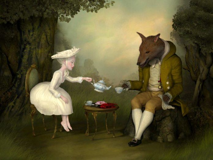 A pale and beautiful girl serves tea to a dog headed man in this surrealist painting by Ray Caesar