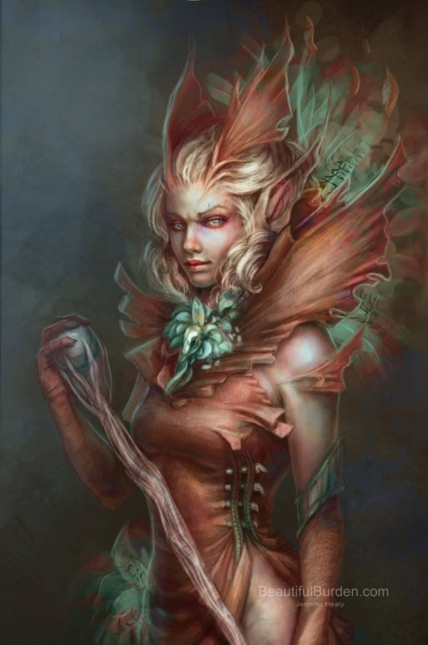 A sexy forest warrior mage casts a spell in this digital fantasy painting by Jennifer Healy
