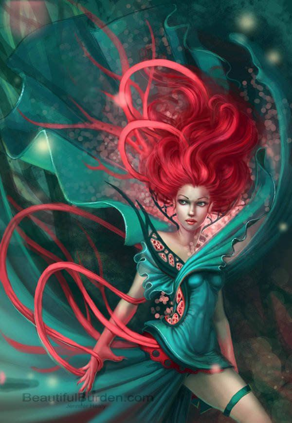 A sexy redhead fantasy girl poses with flowing cloth in this magical fantasy painting by Jennifer Healy