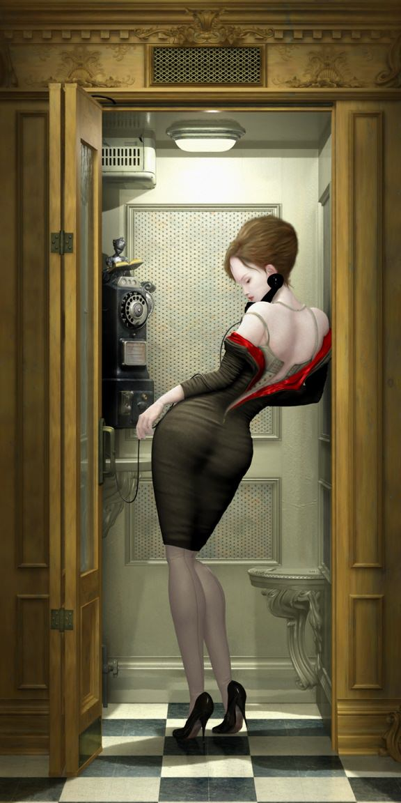 A sexy woman poses in a phone booth in this creepy painting by Ray Caesar