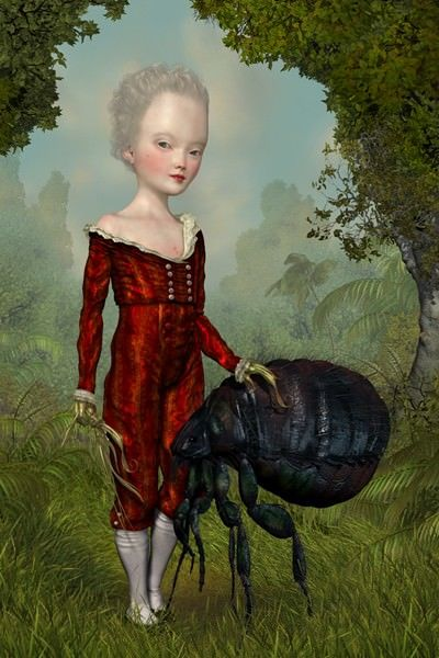A strange surrealist painting by Ray Caesar shows a pale girl with her pet flea