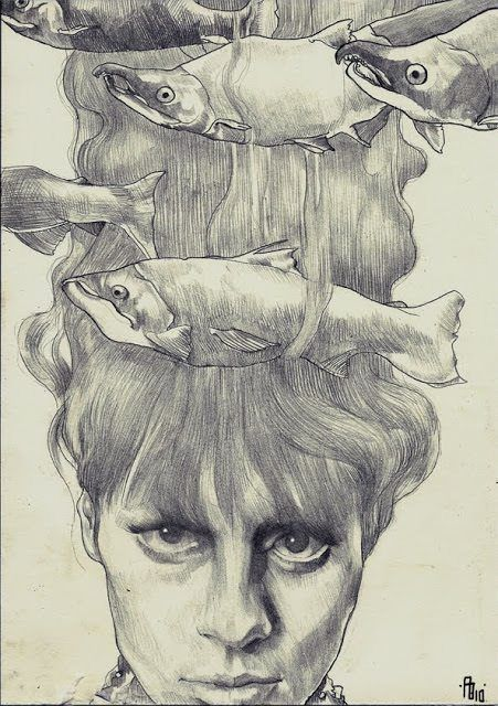 A woman wears fish in her hair in this sketch by Philipp Banken