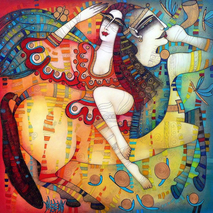 Albena Vatcheva paints a mythological story in this colorful, iconic art work