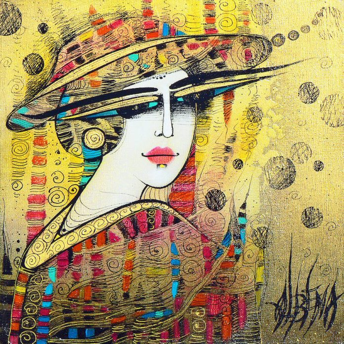Albena Vatcheva paints a portrait of a beautiful woman in a stylish hat