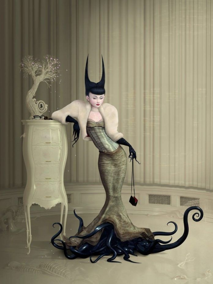 An Asian woman with tentacle feet stands beside a cherry blossom bonsai in this surreal painting by Ray Caesar