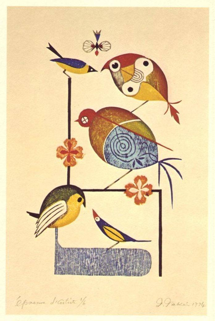 Birds frolic in this stunning illustration by Japanese master artist Takeo Takei