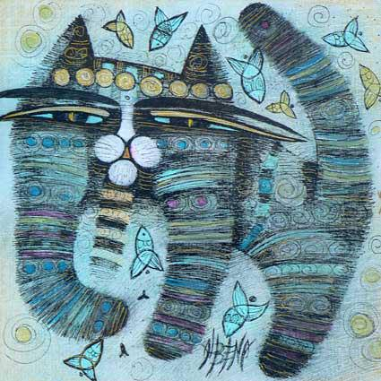 French artist Albena Vatcheva paints an iconic, stylized cat in blue oil paint