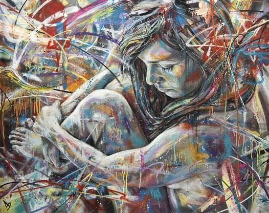 Graffiti artist David Walker paints a nude girl in this colorful and scrawled spray paint art work
