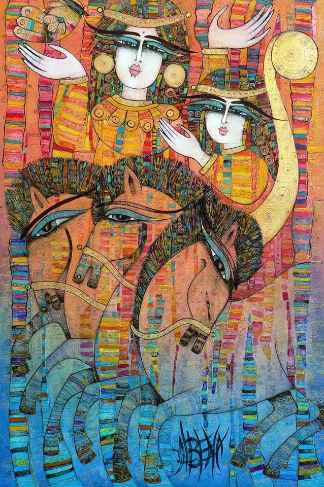 Horses and maidens frolick in this colorful iconic painting by Albena Vatcheva