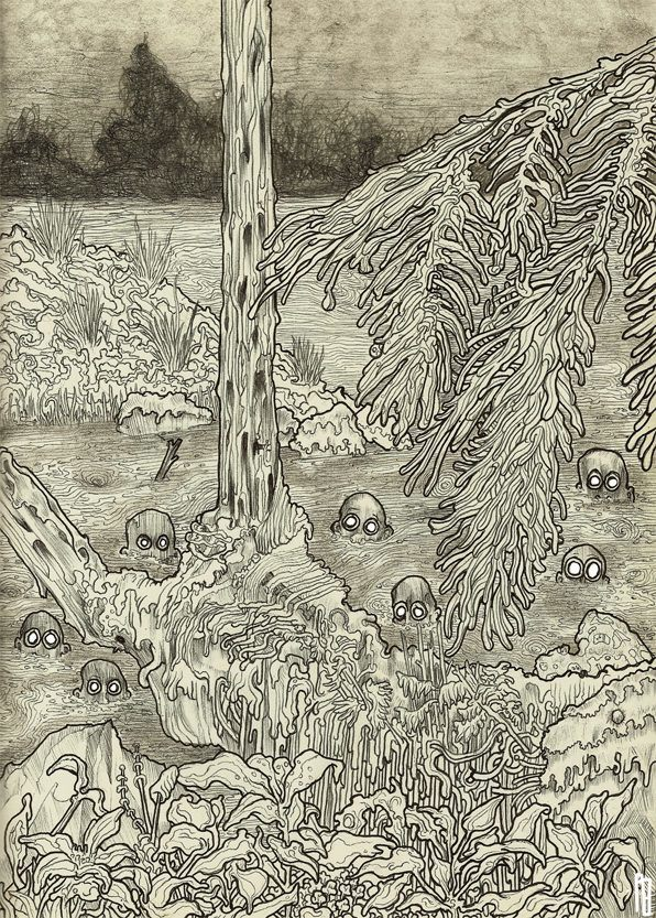 Philipp Banken creates illustrated textures in this drawing of boogie monsters in a bog