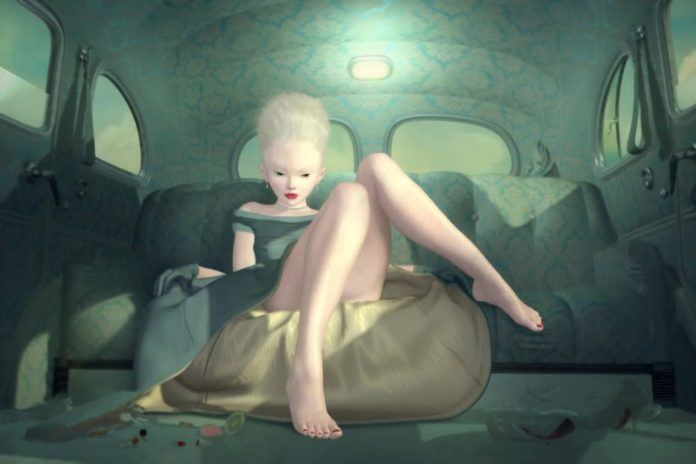 Ray Caesar merges time periods in this surrealist painting of a pale girl in a car