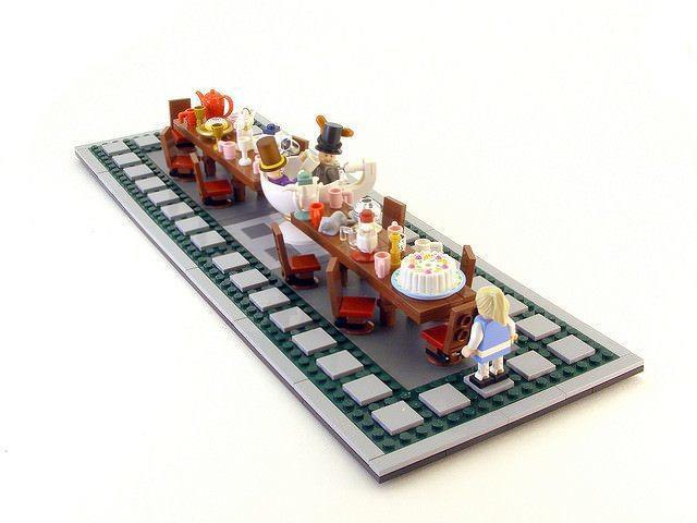 Alice and the Mad Hatter and the hare have a tea party in this lego sculpture by Legohaulic