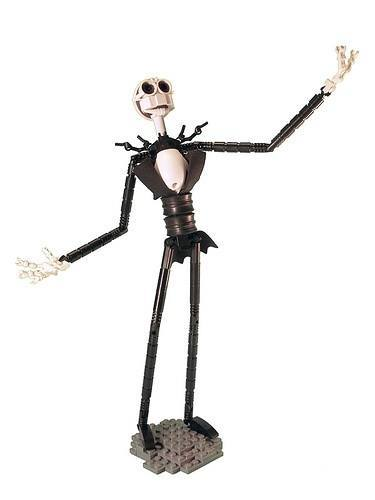 An emotive lego brick sculpture by Legohaulic of Jack Skellington from the Nightmare before Christmas