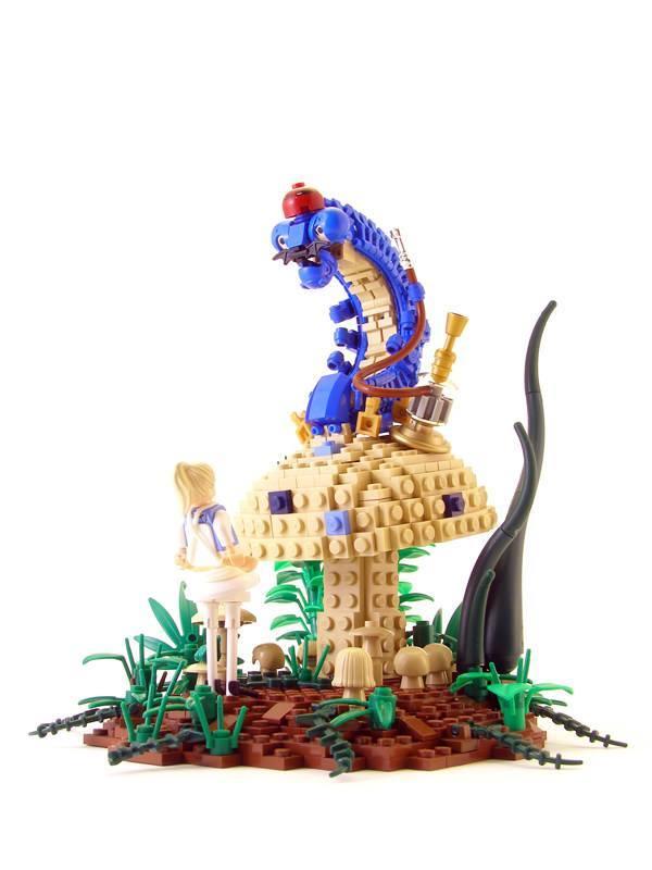 Legohaulic creates a Lego sculpture of Alice talking with the Hookah Smoking Caterpillar