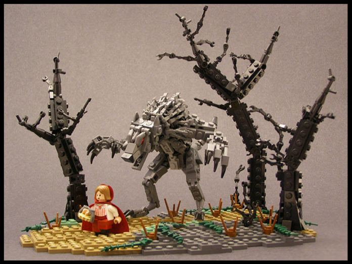 Little Red Riding Hood and the Big Bad Wolf come alive in this lego sculpture by Legohaulic