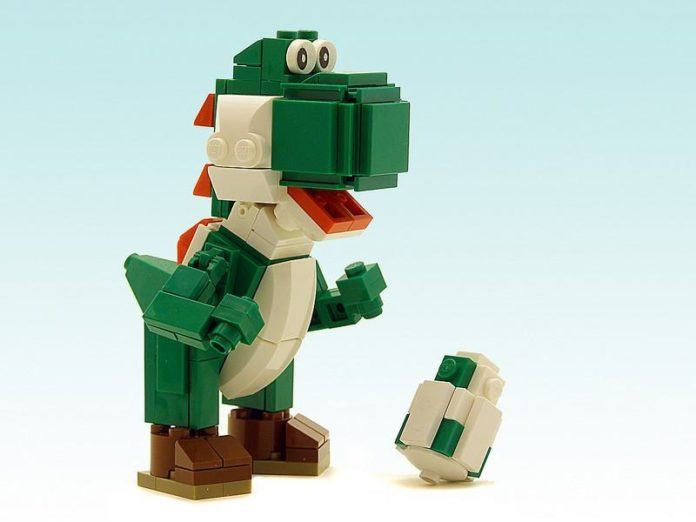 Yoshi from the Mario Bros video game series gets a new life in this lego brick sculpture by Legohaulic