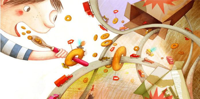 A boy eating breakfast finds a motorway in his cereal box in this illustration by Marion Arbona