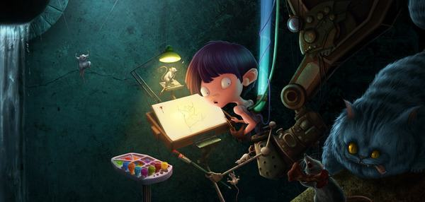 A boy sits at an art table while the cheshire cat looks on hungrily in this funny Photoshop painting by Jia Xing Yap