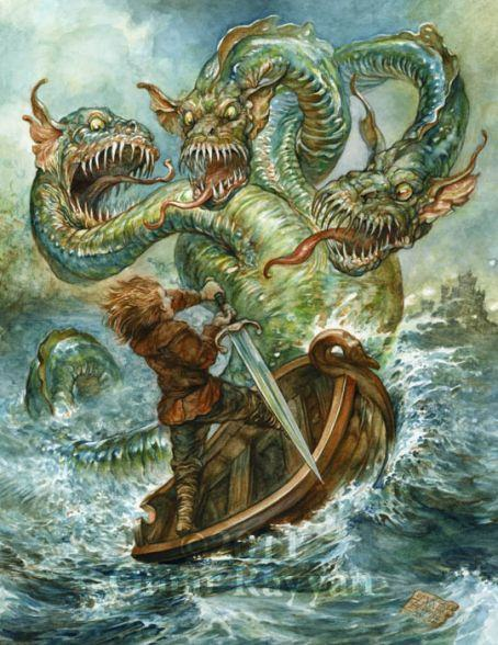 A brave sailor fights a three headed monster in this fantasy illustration by Omar Rayyan