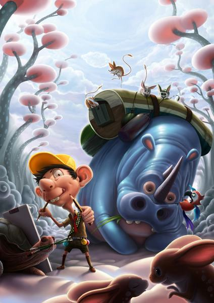 A cartoon artist and his silly pets paint two mice in this funny Photoshop painting by Jia Xing Yap