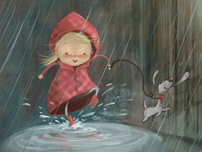 A cute illustration by Susan Batori of a girl and her dog splashing in puddles on a rainy day